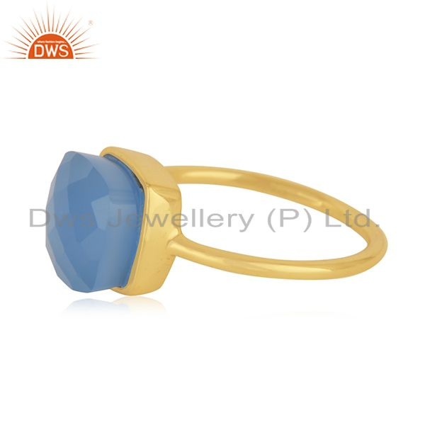 Suppliers Blue Chalcedony Gemstone Gold Plated Handmade Sterling Silver Ring Jaipur