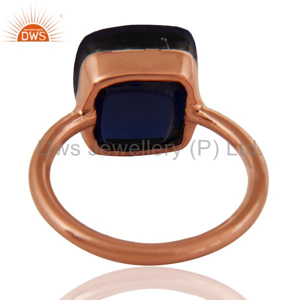 Suppliers 18K Rose Gold Plated Sterling Silver Sapphire Blue Corundum Stackable Ring