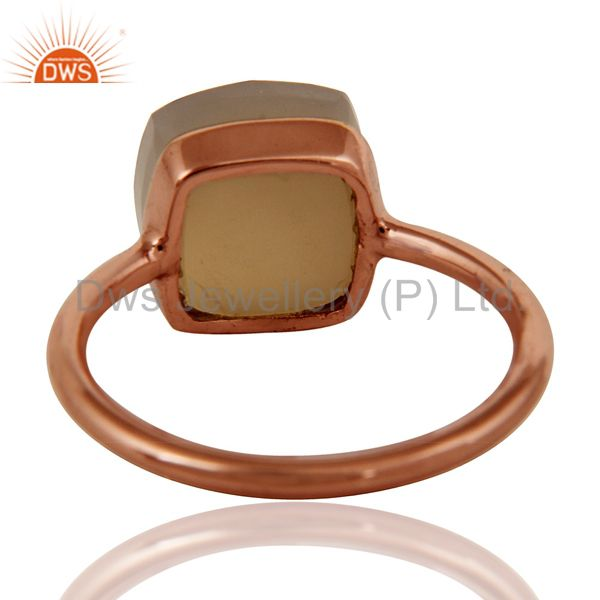 Suppliers Gray Chalcedony Sterling Silver Bezel-Set Ring With 18K Rose Gold Plated