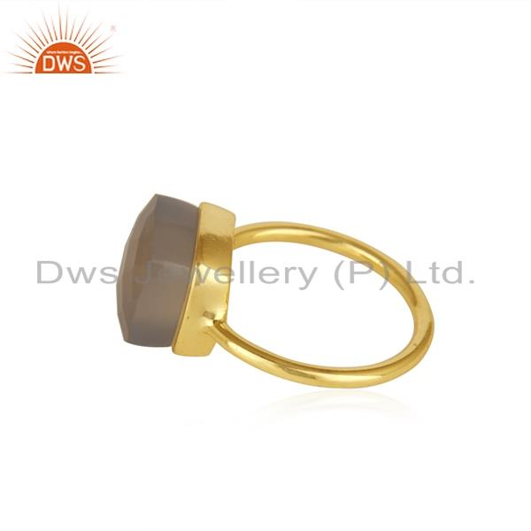 Suppliers Crystal Quartz Gemstone 925 Silver Gold Plated Ring Manufacturer India