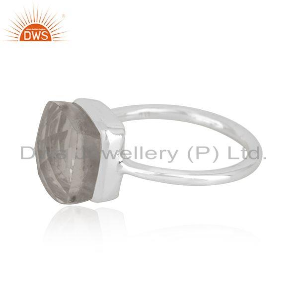 Suppliers Crystal Quartz Sterling Handmade Fine Silver Ring Manufacturer in India