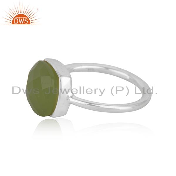 Suppliers Handmade Sterling Fine Silver Prehinte Chalcedony Gemstone Ring Wholesale