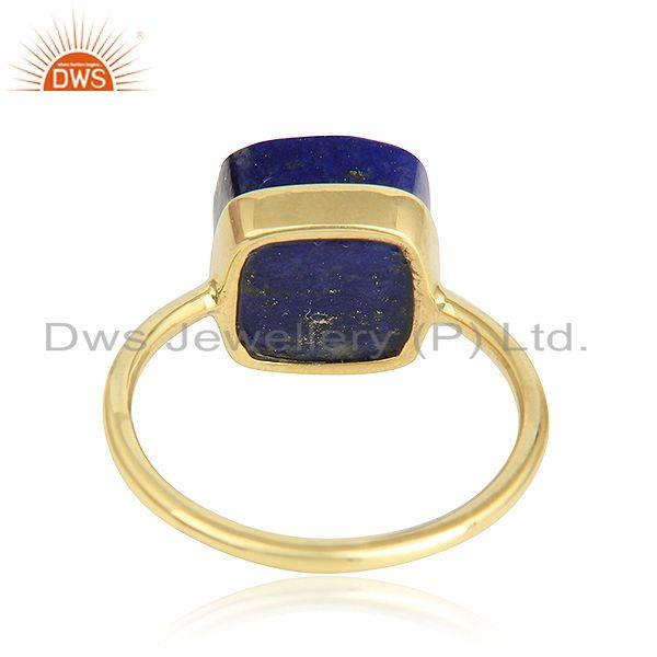 Designer of Handmade 18k yellow gold plated 925 silver lapis lazuli gemstone rings