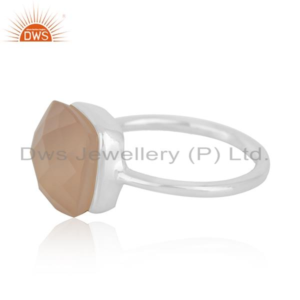 Suppliers Rose Chalcedony Gemstone Handmade Sterling Silver Ring Manufacturers