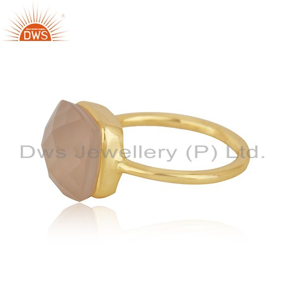 Top Quality 14K Yellow Gold Plated Sterling Silver Rose Chalcedony Bezel Set Stack Ring