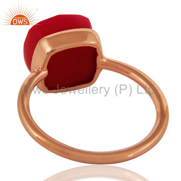 Suppliers Faceted Pink Chalcedony Sterling Silver Bezel-Set Ring - Rose Gold Plated