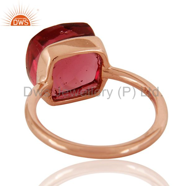 Suppliers Pink Glass Sterling Silver Bezel Set Stack Ring - Rose Gold Plated