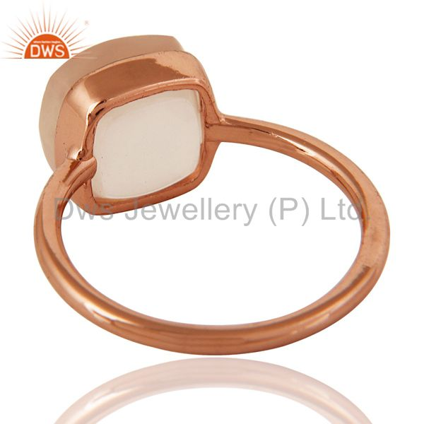 Suppliers Faceted Rose Quartz Gemstone Sterling Silver Stacking Ring With Rose Gold Plated