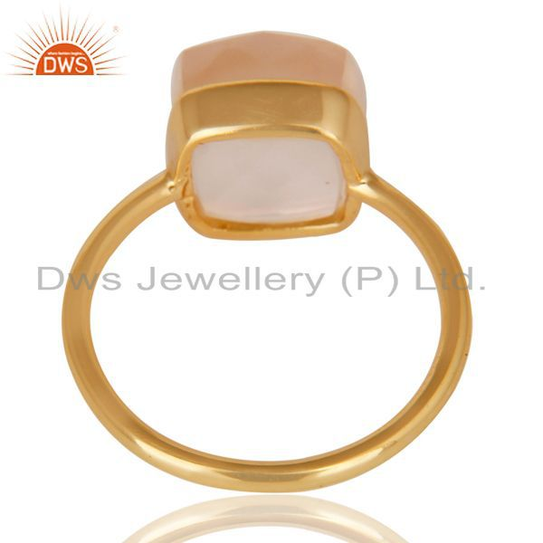 Suppliers 14K Yellow Gold Plated 925 Sterling Silver Handmade Rose Quartz Statement Ring