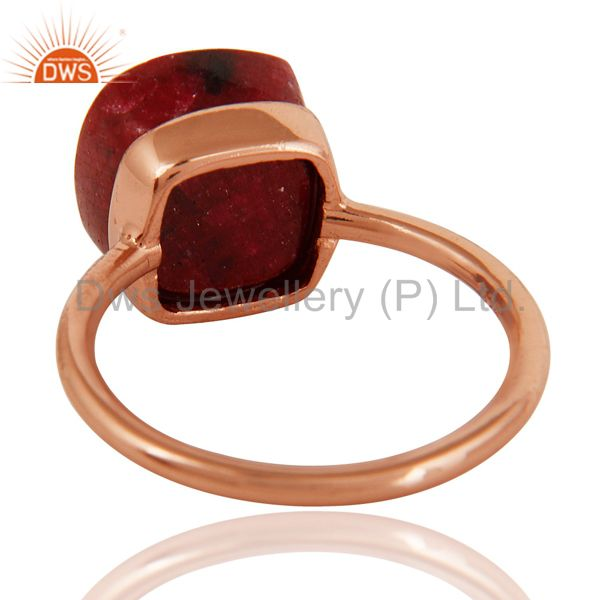 Suppliers Faceted Ruby Corundum Bezel-Set Sterling Silver Ring - Rose Gold Plated