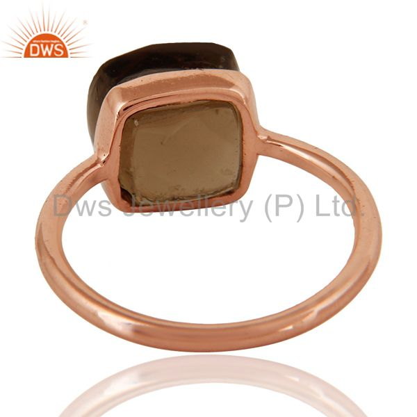 Suppliers Natural Smoky Quartz Checker Broad Sterling Silver Bezel Ring - Rose Gold Plated