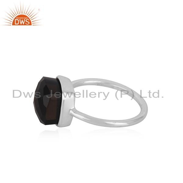 Suppliers Smoky Quartz Gemstone Fine Sterling Silver Handmade Ring Manufacturers INdia