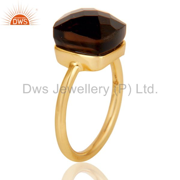 Suppliers 22K Gold Plated 925 Sterling Silver Checkered Smokey Topaz Statement Ring