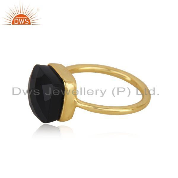 Suppliers Black Onyx Gemstone Gold Plated 925 Silver Handmade Ring Manufacturer India