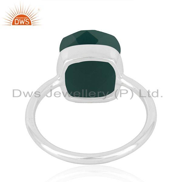 Suppliers Handmade 925 Sterling Fine Silver Green Onyx Gemstone Ring Manufacturer in India