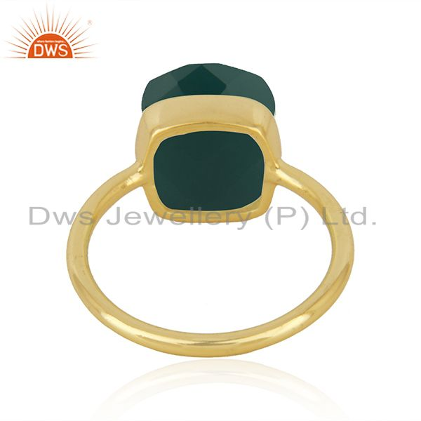 Suppliers Gold Plated Sterling Silver Faceted Green Onyx Gemstone Bezel Set Handmade Ring