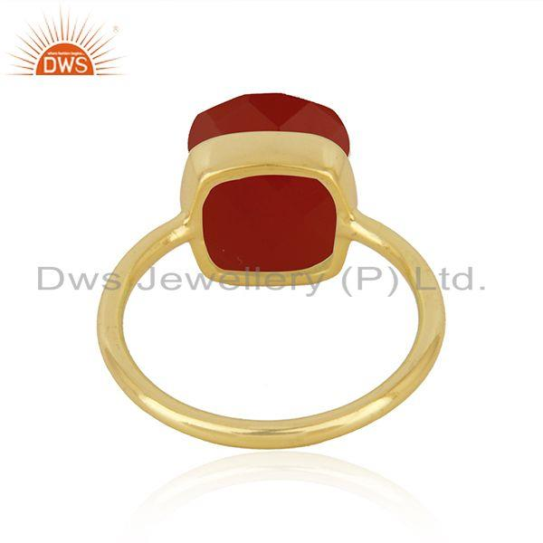 Suppliers Red Onyx Gemstone Gold Plated 925 Silver Red Onyx Gemstone Ring Wholesale