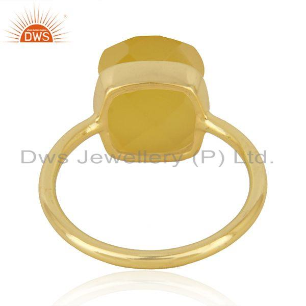 Suppliers Yellow Chalcedony Gemstone Gold Plated 925 Silver Ring Manufacturer in India