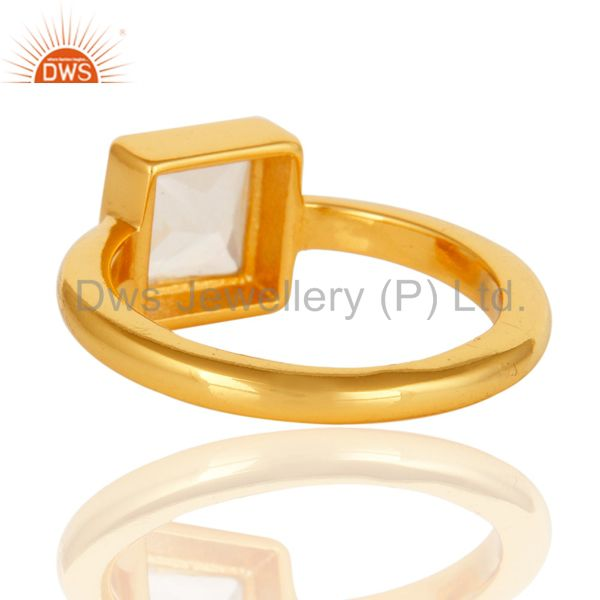 Suppliers Square Princess Cut Crystal Quartz 14K Yellow Gold Plated Sterling Silver Ring