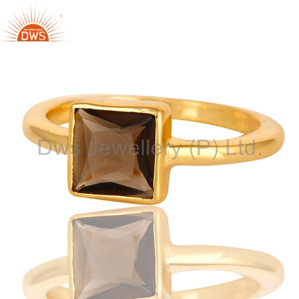 Suppliers 14K Gold Plated Sterling Silver Smoky Quartz Princess Cut Stack Ring