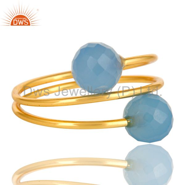 Suppliers 14K Yellow Gold Plated Sterling Silver Blue Chalcedony Adjustable Ring