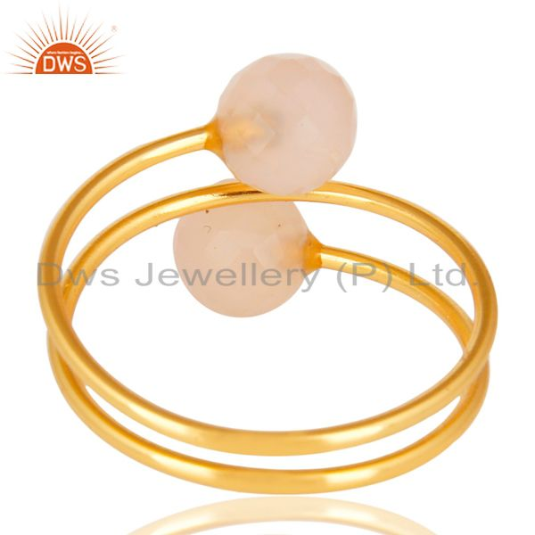 Suppliers 14K Yellow Gold Plated Sterling Silver Dyed Chalcedony Adjustable Ring