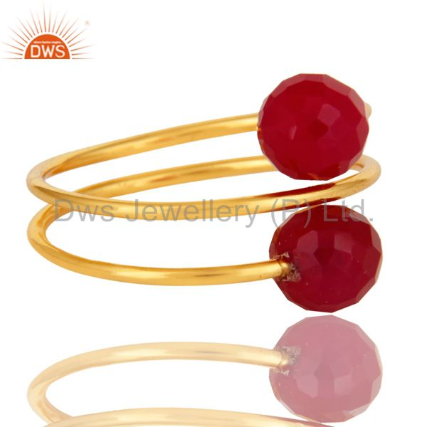 Suppliers 14K Yellow Gold Plated Sterling Silver Pink Chalcedony Gemstone Adjustable Ring