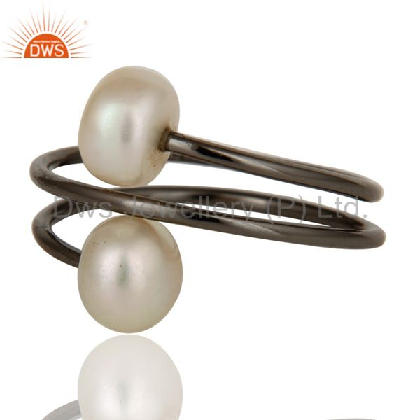 Suppliers Black Oxidized With Sterling Silver Natural Pearl Wire Adjustable Ring