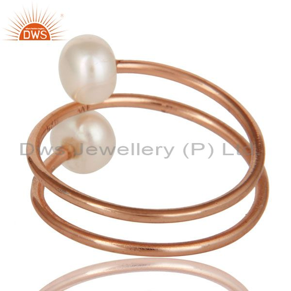 Suppliers 18K Rose Gold Plated Sterling Silver Pearl Wire Wrapped Adjustable Ring
