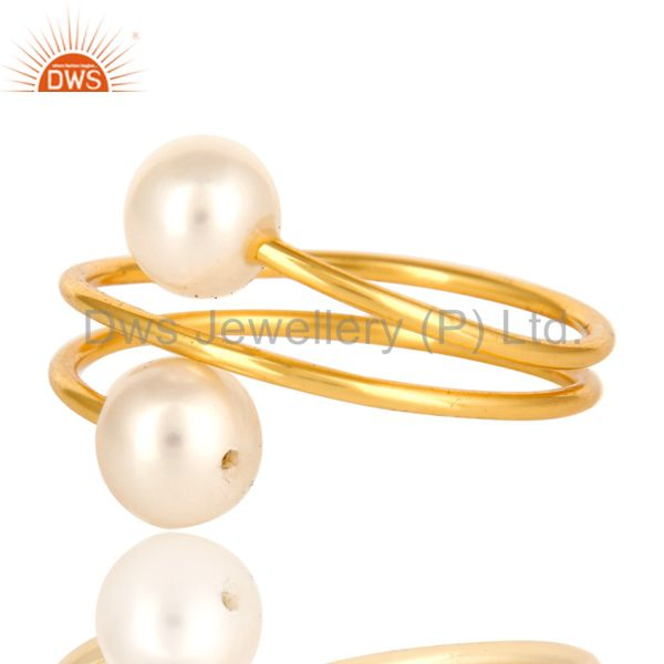 Suppliers 14K Yellow Gold Plated Sterling Silver Natural White Pearl Wire Adjustable Ring