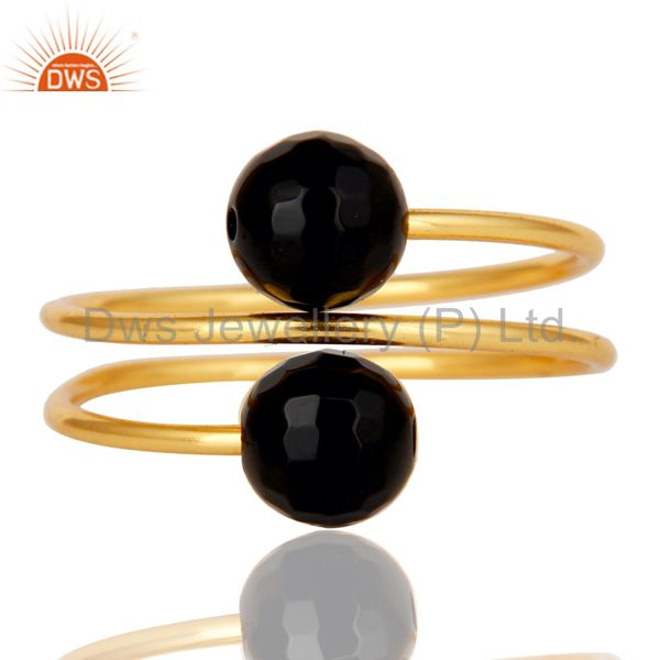 Suppliers 14K Yellow Gold Plated Sterling Silver Natural Black Onyx Wire Adjustable Ring