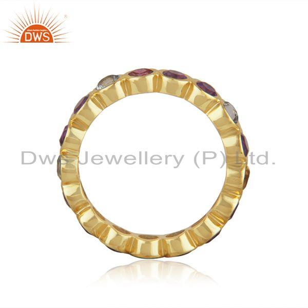Suppliers Citirine and Amethyst Gemstone Gold Plated 925 Silver Band Rings