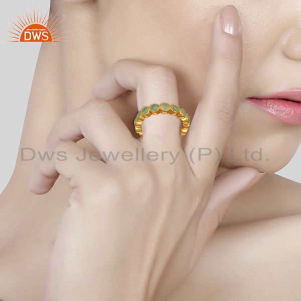 Suppliers Designer Aqua Chalcedony Gemstone Gold Plated 925 Silver Band Ring
