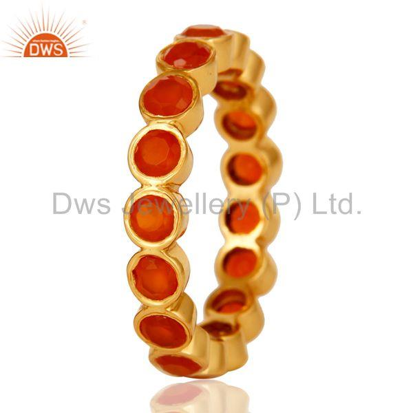 Designers 18K Gold Plated Sterling Silver Carnelian Ring Gemstone Band
