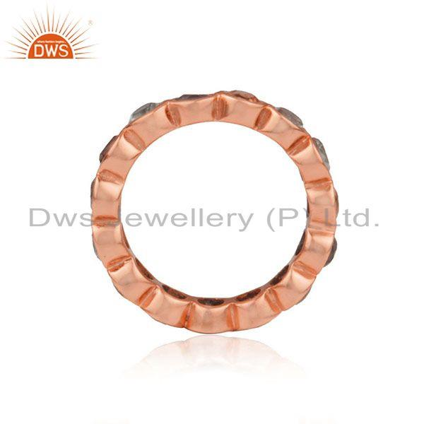 Suppliers Citrine Amethyst Gemstone Rose Gold Plated Silver Band Ring Jewelry