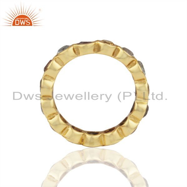 Suppliers Natural Multi Gemstone Solid 925 Silver Gold Plated Wedding Band Rings