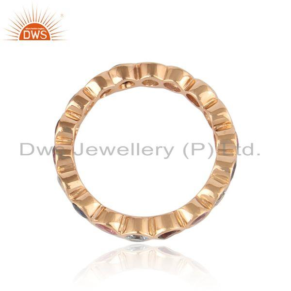 Designer of Designer eternity ring in natural gemstones in rose gold on silver