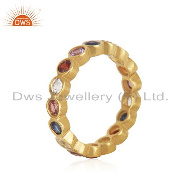 Suppliers Multi Color Stone Yellow Gold Plated Silver Band Ring Jewelry