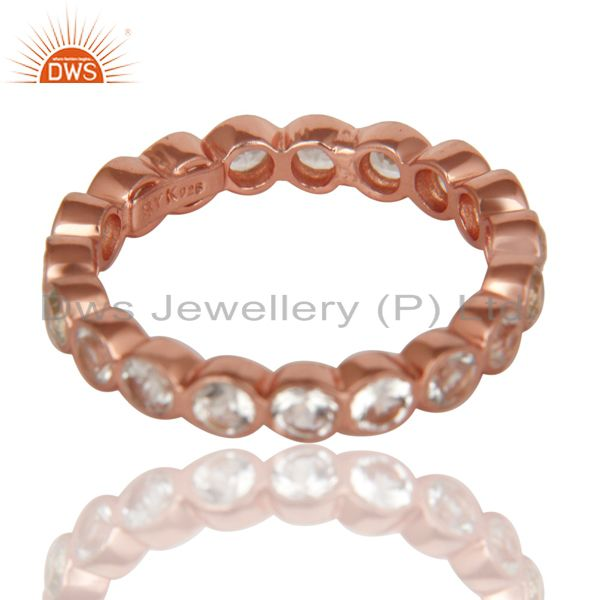 Suppliers 14K Rose Gold Plated 925 Sterling Silver White Topaz Round Eternity Ring
