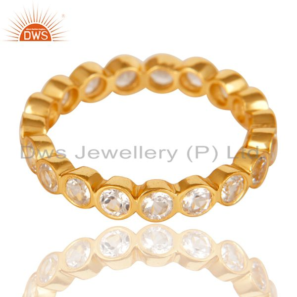 Suppliers 14K Yellow Gold Plated 925 Sterling Silver White Topaz Round Eternity Ring