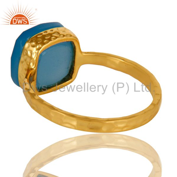 Suppliers 14K Yellow Gold Plated Sterling Silver Blue Chalcedony Gemstone Bezel Set Ring