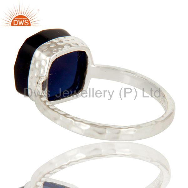 Suppliers Handmade Solid Sterling Silver Blue Corundum Gemstone Bezel Set Ring