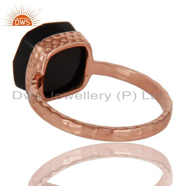 Suppliers 18K Rose Gold Plated Sterling Silver Black Onyx Gemstone Hammered Band Ring
