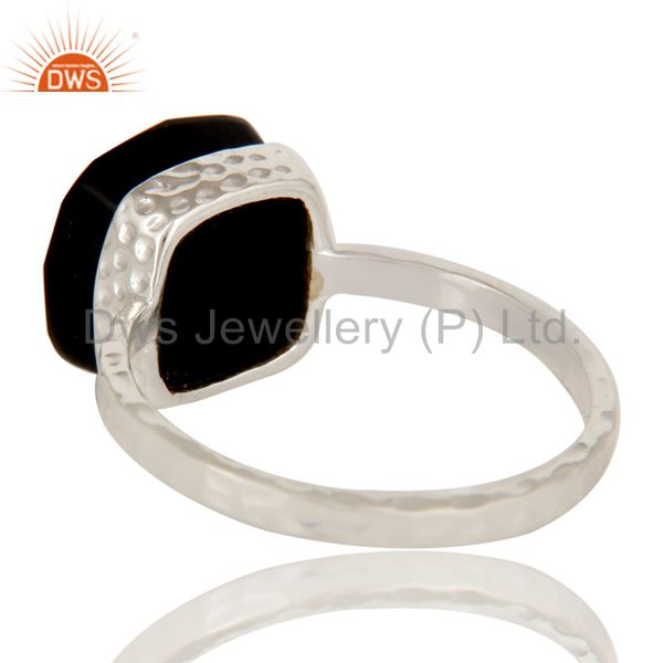 Suppliers Handmade Sterling Silver Black Onyx Gemstone Bezel Set Hammered Band Ring