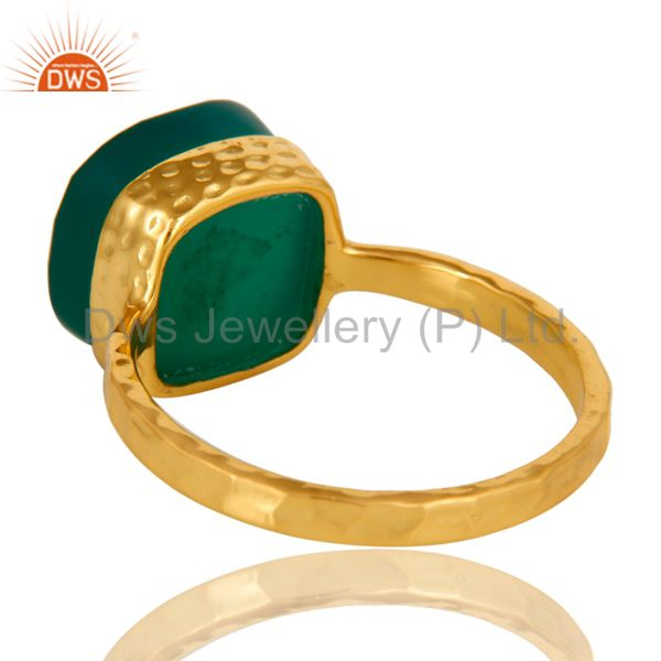 Suppliers 22K Yellow Gold Plated Sterling Silver Green Onyx Bezel Set Hammered Band Ring