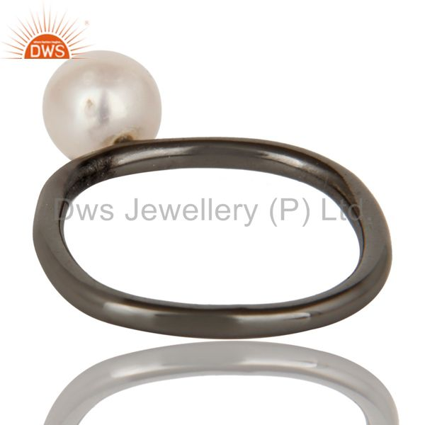 Suppliers 925 Sterling Silver With Oxidized Natural White Pearl Stackable Ring