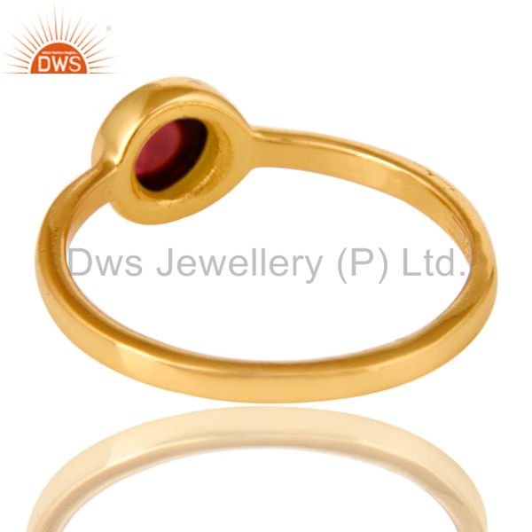 Suppliers 14K Yellow Gold Plated Sterling Silver Garnet Gemstone Stacking Ring