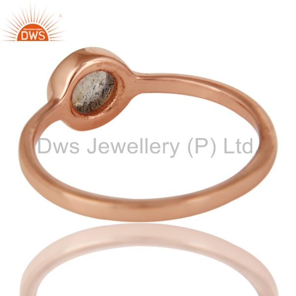 Suppliers 14K Rose Gold Plated Sterling Silver Labradorite Gemstone Stacking Ring