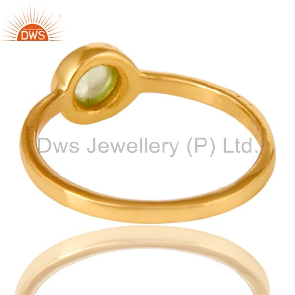 Suppliers Shiny 14K Yellow Gold Plated Sterling Silver Peridot Gemstone Stacking Ring
