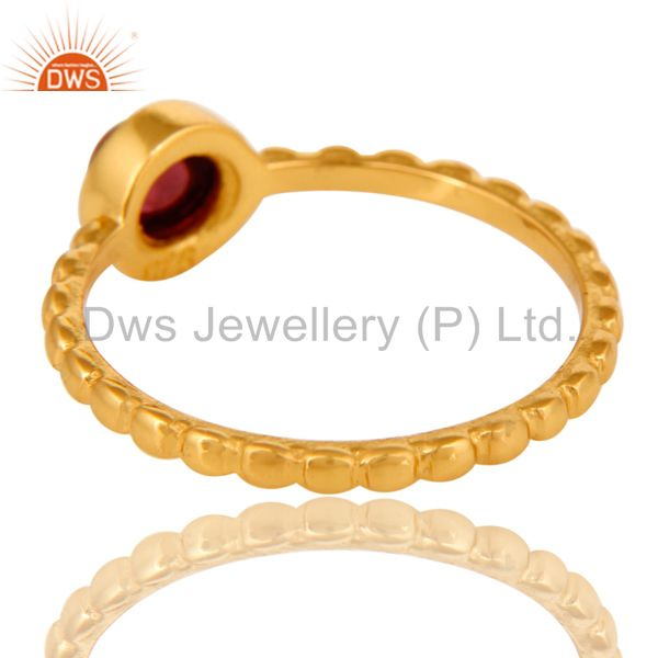 Suppliers Shiny 14K Yellow Gold Plated Sterling Silver Garnet Gemstone Stackable Ring